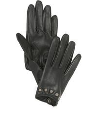 Женские черные кожаные перчатки от Carolina Amato