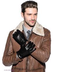 Мужские черные кожаные перчатки от Eleganzza
