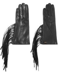 Женские черные кожаные перчатки от Prada