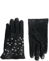 Женские черные кожаные перчатки от Selected