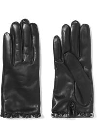 Женские черные кожаные перчатки от Valentino