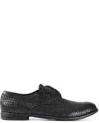Черные кожаные плетеные туфли дерби