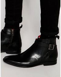 Мужские черные кожаные повседневные ботинки от Base London