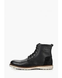 Мужские черные кожаные повседневные ботинки от Pier One