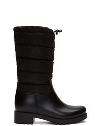 Черные кожаные полусапоги от Moncler