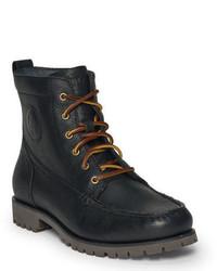 Черные кожаные рабочие ботинки