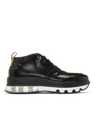 Мужские черные кожаные рабочие ботинки от Fendi
