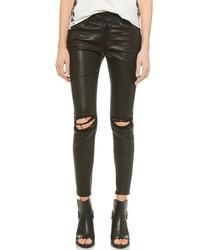 Черные кожаные рваные джинсы скинни от RtA