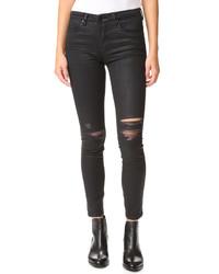 Женские черные кожаные рваные джинсы от Blank