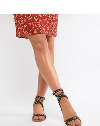 Черные кожаные сандалии на плоской подошве с шипами от ASOS DESIGN