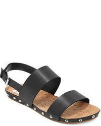Черные кожаные сандалии на плоской подошве
