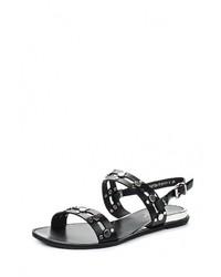 Черные кожаные сандалии на плоской подошве от Amazonga