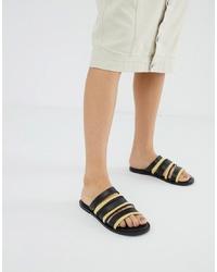 Черные кожаные сандалии на плоской подошве от ASOS DESIGN