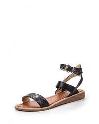 Женские черные кожаные сандалии на плоской подошве от Chic Nana