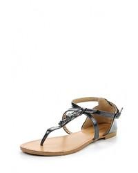 Черные кожаные сандалии на плоской подошве от Damerose