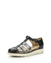 Черные кожаные сандалии на плоской подошве от Geox
