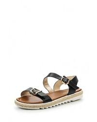 Черные кожаные сандалии на плоской подошве от Inario