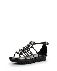 Женские черные кожаные сандалии на плоской подошве от Lola Cruz