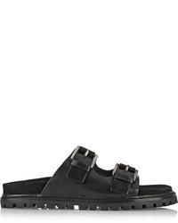 Женские черные кожаные сандалии на плоской подошве от Michael Kors