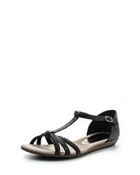 Черные кожаные сандалии на плоской подошве от Tamaris