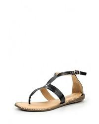 Черные кожаные сандалии на плоской подошве от Vivian Royal