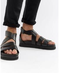 Мужские черные кожаные сандалии от ASOS DESIGN