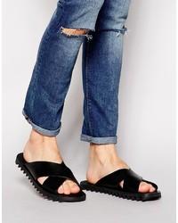 Мужские черные кожаные сандалии от Diesel