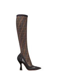 Черные кожаные сапоги от Fendi