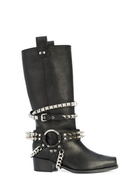 Черные кожаные сапоги от Moschino