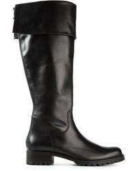 Черные кожаные сапоги от P.A.R.O.S.H.