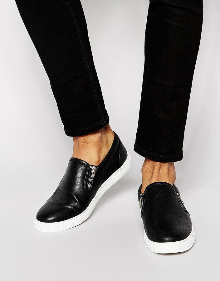 ... Мужские черные кожаные слипоны от Asos ... 747110370522f