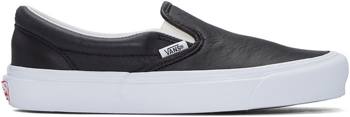 Мужские черные кожаные слипоны от Vans   Где купить и с чем носить 7a1eb381546