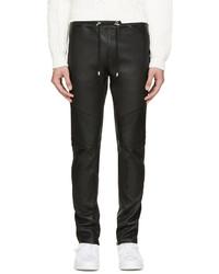 Мужские черные кожаные спортивные штаны от Balmain
