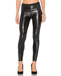 Черные кожаные стеганые узкие брюки