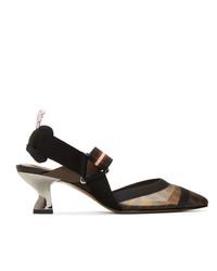 Черные кожаные туфли в горизонтальную полоску от Fendi