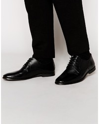 Мужские черные кожаные туфли дерби от Asos