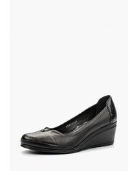 Черные кожаные туфли на танкетке от Pierre Cardin