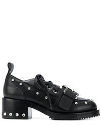Женские черные кожаные туфли на шнуровке с шипами от No.21