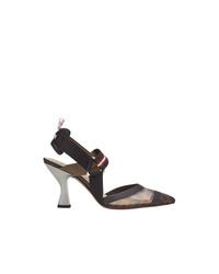 Черные кожаные туфли с принтом от Fendi