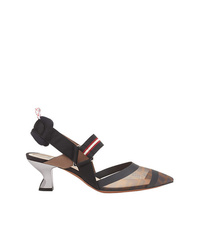 Черные кожаные туфли с украшением от Fendi