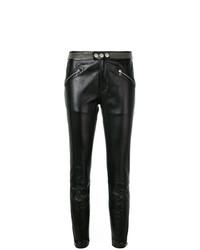 Черные кожаные узкие брюки с шипами от RED Valentino