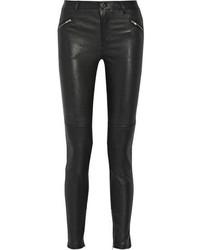 Черные кожаные узкие брюки