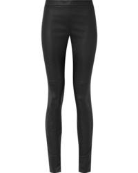 Черные кожаные узкие брюки от Akris