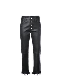 Черные кожаные узкие брюки от Amiri