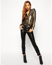 Черные кожаные узкие брюки от Asos