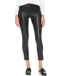 Черные кожаные узкие брюки от Blank