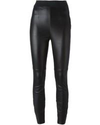 Женские черные кожаные узкие брюки от Dolce & Gabbana