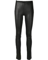 Черные кожаные узкие брюки от Drome