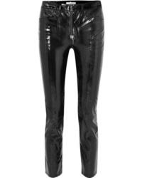 Черные кожаные узкие брюки от Frame