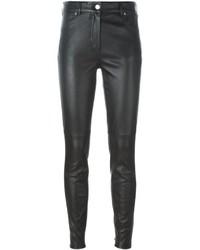 Женские черные кожаные узкие брюки от Givenchy